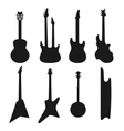 Acoustic electric guitars black and white icons vector image