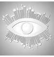 Abstract background with eye and buildings vector image