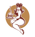 beauty plus size pinup girl with gigantic tasty vector image