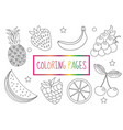 coloring book page fruit set sketch doodle vector image