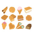 different wafer cookies waffle cakes pastry cookie vector image