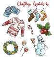 Doodle christmas symbols vector image