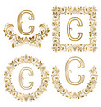 golden c letter ornamental monograms set heraldic vector image