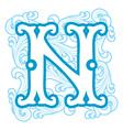 winter vintage letter N vector image
