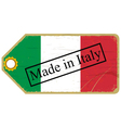 Vintage label with the flag of Italy vector image