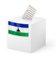 Ballot box with voting paper Lesotho vector image