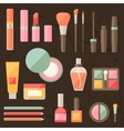 Set of colored cosmetics icons in flat style vector image vector image