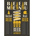 bottled and draft beer with price list vector image