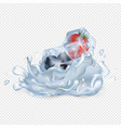 frozen strawberry and blueberry drop in water vector image
