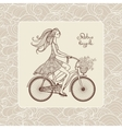 Girl On Bicycle vector image