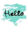 Hello lettering calligraphy vector image