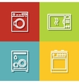 Household appliances icons in line style on color vector image