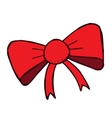 red doodle bow isolated Hand drawn fashion vector image