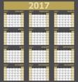 Calendar 2017 week starts on Sunday yellow tone vector image vector image