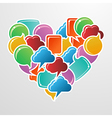 Social media bubbles in love heart shape vector image vector image