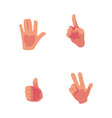 cartoon hands showing high five thumb up vector image