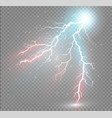 set of lightnings magic and bright lighting vector image