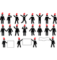 People pictograms with Christmas hats vector image