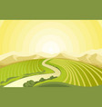 amazing landscape of sunrise above fields at vector image