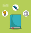 colorful poster of education with book in closeup vector image