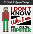 Hipster character and typography design vector image