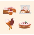 Icon set with sweets Cartoon food vector image