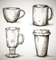 set of coffe mugs drawing vector image