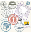 travel stamps set - brazil and rio de janeiro vector image
