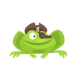 Green Frog Funny Character With Pirate Hat And Eye vector image