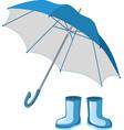 blue rubber boots umbrella vector image