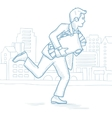 Businessman running with suitcase full of money vector image