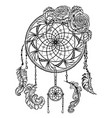 dream catcher with ornament and roses vector image