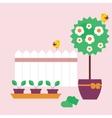 Garden scene in flat style vector image