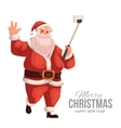 Greeting card with cartoon Santa Claus making vector image