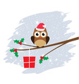 owl santa hat card snow vector image