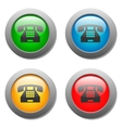 Phone icon glass button set vector image