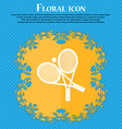 tennis icon Floral flat design on a blue abstract vector image