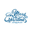 text marry christmas with snow and ice vector image