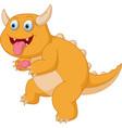 cute orange monster cartoon scary vector image