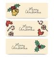 christmas horizontal banners wintage drawings vector image