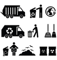 Garbage icons vector image vector image