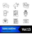 Media icons outline vector image