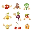 Cute cartoon vegetables and fruit vector image
