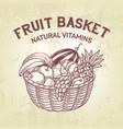 basket setcomposition of fruit in basket vector image
