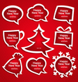 Christmas speech bubles set various shapes with vector image