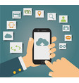 concept of cloud services on mobile phone vector image