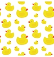 Cute yellow ducks seamless pattern on white vector image