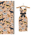 dress fabric with dogs and cats vector image