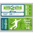 Football soccer ticket template vector image