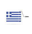 greek flag with roller color vector image